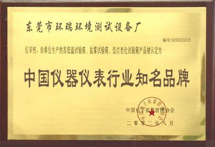 中国仪器仪表行业知名品牌